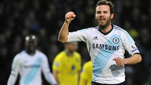 Chelsea's Juan Mata celebrates scoring against Norwich City during their English Premier League soccer match at Carrow Road in Norwich December 26, 2012 (Reuters)