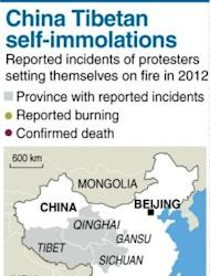 Graphic charting self-immolation protests in China this year. Two Tibetan men died in separate incidents on Monday in Qinghai province