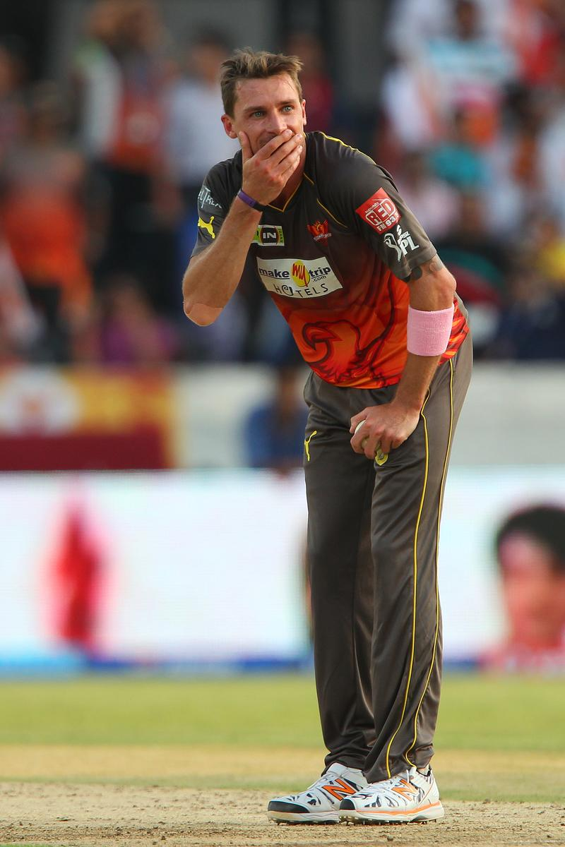 Dale Steyn reacts after an unsuccessful appeal for the wicket of  Kieron Pollard during match 43 of the Pepsi Indian Premier League between The Sunrisers Hyderabad and Mumbai Indians held at the Rajiv