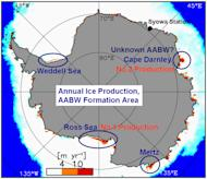 Sources of Antarctic Bottom Water currents. The Cape Darnley region produces about 10 percent of the continent's dense, chilly water, which flows north, stimulating global ocean circulation.