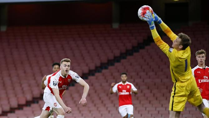 Arsenal's Calum Chambers header is saved by Blackburn's Andrew Fisher
