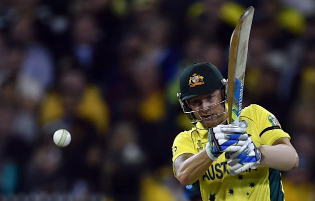 Australian batsman Michael Clarke plays a shot during the 2015 Cricket World Cup final between Australia and New Zealand in Melbourne on March 29, 2015