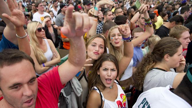 "Fans cheer during the ""Made In America"" music festival on Sunday Sept. 2, 2012, in Philadelphia. (Photo by Drew Gurian/Invision/AP)"