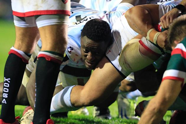 Racing 92's French flanker Yannick Nyanga in the scrum during the European Champions Cup rugby union pool match between Leicester Tigers and Racing 92 at Welford Road in Leicester, central England