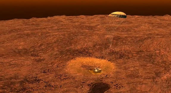 This still image is from an animation that re-creates the landing of the European Space Agency's Huygens probe on the Saturn moon Titan on Jan. 14, 2005, three weeks after being dropped off by NASA's Cassini spacecraft.