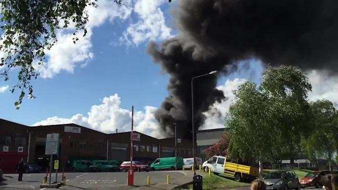 Fire at Sainsbury's distribution depot in Charlton, UK