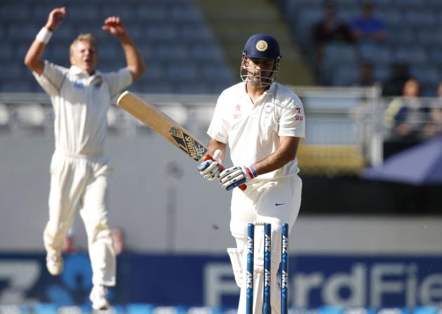 New Zealand's Wagner celebrates dismissing India's Dhoni during the second innings on day four of the first international test cricket match at Eden Park in Auckland