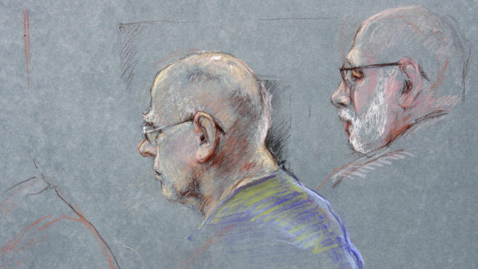 """This courtroom sketch depicts James """"Whitey"""" Bulger during the first day of his racketeering trial in U.S. District Court in Boston, Wednesday, June 12, 2013. At right is defense attorney J.W. Carney, Jr. Bulger faces a long list of crimes, including extortion and playing a role in 19 killings. (AP Photo/Margaret Small)"""