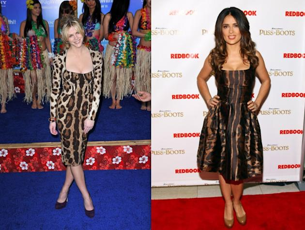 Brooklyn Decker (24) goes head to head with Salma Hayek (45) in leopard print dresses. Verdict? Minimal styling, a lighter shoe, and un-fussy hair prevail. (James Devaney/WireImage & Barnard/WireImage