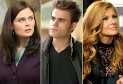 Emily Deschanel, Paul Wesley, Connie Britton | Photo Credits: Patrick McElhenney/FOX; Annette Brown/The CW; Donn Jones/ABC