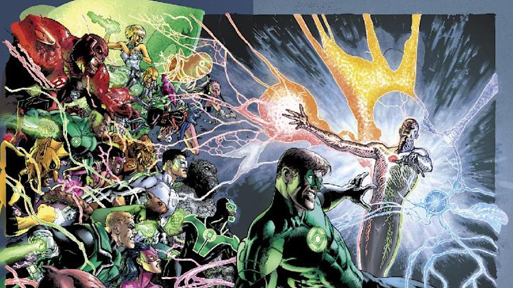 "The image provided by DC Entertainment shows the illustration for the cover of ""Green Lantern"" No. 20, due out in May, which is the last issue written by Geoff Johns. He is leaving the book after nearly nine years of writing Green Lantern titles to focus on DC Entertainment's family of Justice League titles and Aquaman, too. (AP Photo/DC Entertainment)"