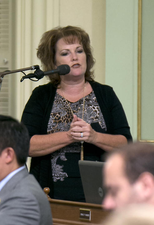 Assemblywoman Shannon Grove, R-Bakersfield, urged lawmakers to reject a  measure regulating pregnancy centers during a debate at the Capitol in Sacramento, Calif., Tuesday May 26, 2015. The bill, AB77
