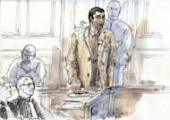 A court sketch created March 29, shows Franco-Algerian physicist Adlene Hicheur (C), a former researcher at the European Organisation for Nuclear Research (CERN), speaking during his trial in Paris. The court sentenced Hicheur Friday to four years in jail after he was convicted of plotting with Al-Qaeda's north African branch to carry out terror attacks