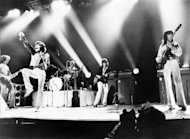 The Rolling Stones play at Wembley in 1973. The band is launching a photographic exhibition Thursday marking 50 years since their first gig, as guitarist Keith Richards said the veteran British rock band had been rehearsing again