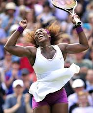 US player Serena Williams celebrates her women's singles semi-final victory over Belarus's Victoria Azarenka on day 10 of the 2012 Wimbledon Championships tennis tournament at the All England Tennis Club in Wimbledon, southwest London. Williams and Agnieszka Radwanksa will meet in Saturday's Wimbledon final