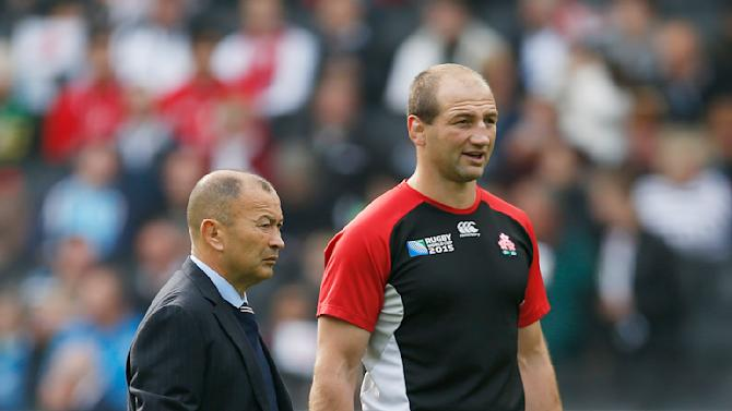 Japan coach Eddie Jones with forwards coach Steve Borthwick before the game
