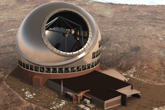 An artist's illustration of the Thirty Meter Telescope (TMT) (Space.com)