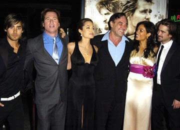 Premiere: Jared Leto, Val Kilmer, Angelina Jolie, director Oliver Stone, Rosario Dawson and Colin Farrell at the Hollywood premiere of Warner Bros. Alexander - 11/16/2004