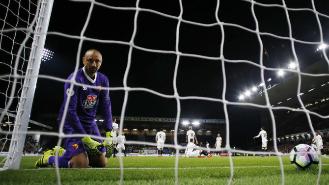 Watford's Heurelho Gomes looks dejected after Michael Keane scored Burnley's second goal
