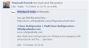 How White Good Brands are Managing their Customer Support on Social Media image Whirlpool India Facebook Customer Support