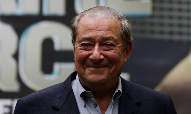 HOUSTON, TX - DECEMBER 14: Bob Arum, founder and CEO of Top Rank, waits on stage as Nonito Donaire of the Philippines and Jorge Arce of Mexico have their official weigh-in at the PlazAmericas Mall on December 14, 2012 in Houston, Texas. (Photo by Scott Halleran/Getty Images)