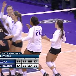 Recap: No. 6 Washington women's volleyball finishes strong to top No. 14 Arizona