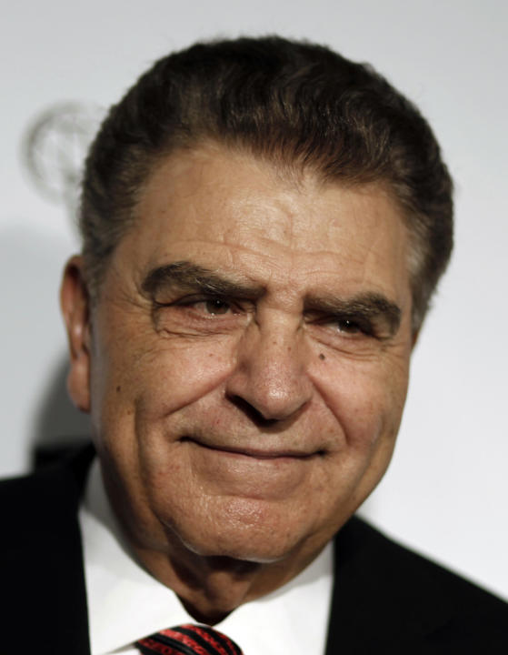 FILE- In this March 1, 2012 file photo,  Mario Kreutzberger, also know as Don Francisco arrives at the Academy of Television Arts and Sciences 21st Annual Hall of Fame Gala in Beverly Hills, Calif.  U