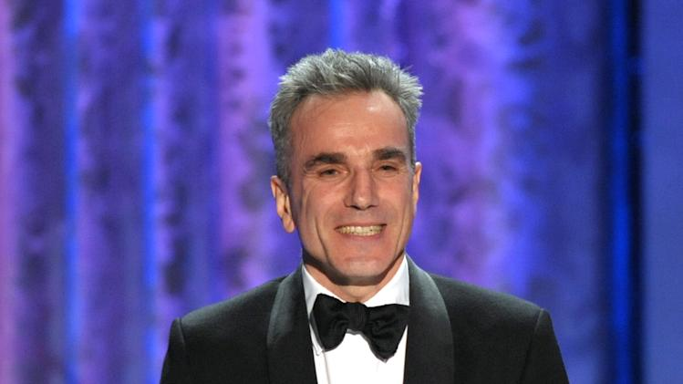 "Daniel Day-Lewis accepts the awards for outstanding male actor in a leading role for ""Lincoln"" at the 19th Annual Screen Actors Guild Awards at the Shrine Auditorium in Los Angeles on Sunday Jan. 27, 2013. (Photo by John Shearer/Invision/AP)"