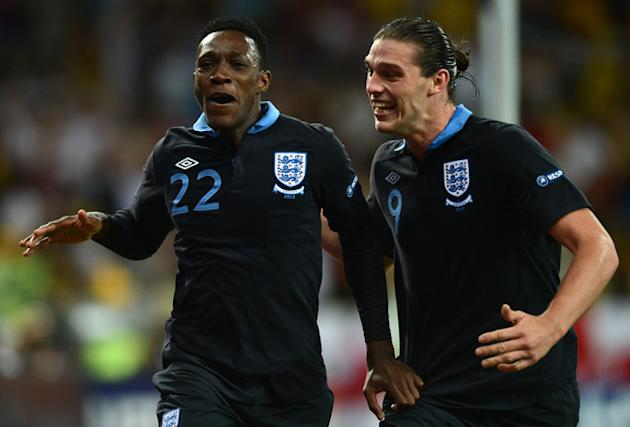 English Forward Dany Welbeck  (L) Celebrates AFP/Getty Images