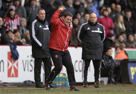 Sheffield United's manager Clough gestures during their FA Cup soccer match against Fulham at Bramhall Lane in Sheffield