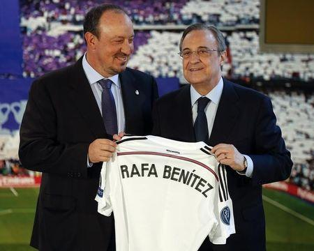 Real Madrid president Florentino Perez presents new coach Rafa Benitez at the Santiago Bernabeu stadium in Madrid