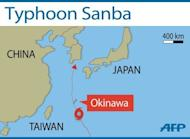 Map showing the path of Typhoon Sanba. A powerful typhoon packing winds of up to 270 kilometres (170 miles) per hour was churning towards Okinawa in southern Japan on Saturday, grounding nearly 80 flights, according to the Japan Meteorological Agency