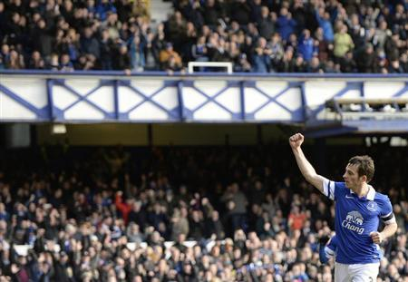 Everton's Leighton Baines celebrates after scoring a penalty against Swansea during their English FA Cup fifth round soccer match at Goodison Park in Liverpool, northern England February 16, 2014. REUTERS/Nigel Roddis