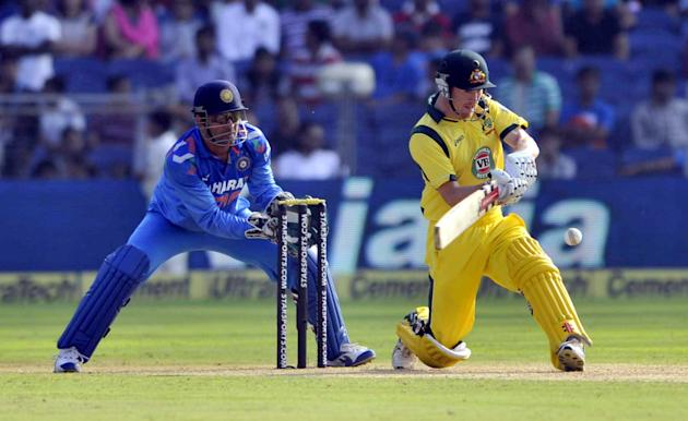 Australian skipper George Bailey in action during the first ODI against India in Pune