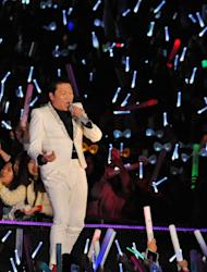 """""""Gangnam Style"""" star Psy performs in Seoul on April 13, 2013"""
