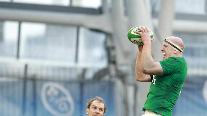 Ireland's Paul O'Connell, right, wins a line out against   Wales during their Six Nations Rugby Union international match at the Aviva Stadium, Dublin, Ireland, Saturday, Feb. 8, 2014