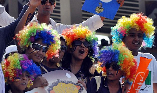 Fans during the match between KKR and Pune Warriors at JSCA, Ranchi on May 15, 2013. (Photo: IANS)
