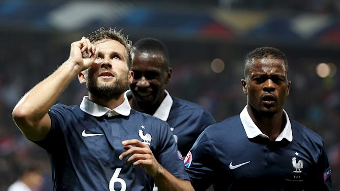 France's Cabaye celebrates after scoring against Armenia during their friendly soccer match at Allianz Riviera stadium in Nice