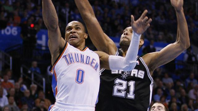 Basketball - Thunder down Spurs to edge closer to top spot