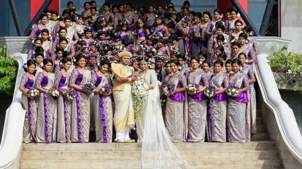 Couple Breaks World Record With Whopping 126 Bridesmaids in Sri Lankan Wedding