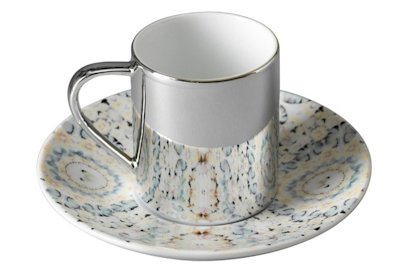 Virtue anamorphic cup and saucer by Damien Hirst