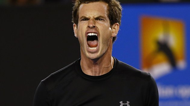 Andy Murray of Britain reacts after winning a point against Grigor Dimitrov of Bulgaria