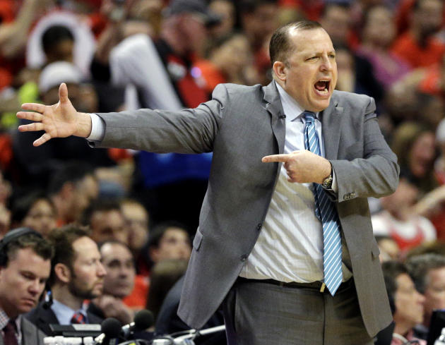 FILE - In this May 10, 2015, file photo, Chicago Bulls head coach Tom Thibodeau yells to his team during the first half of Game 4 in a second-round NBA basketball playoff series against the Cleveland