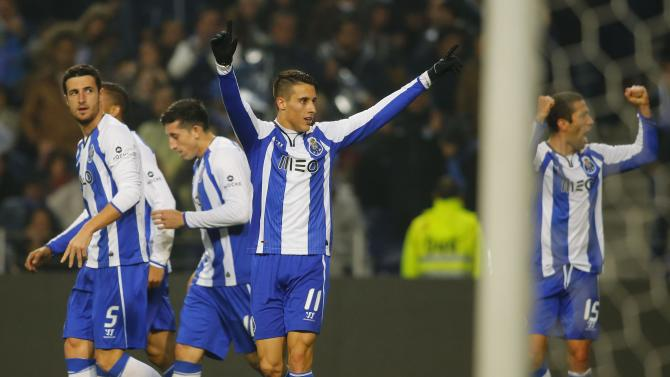 Porto's Tello celebrates his goal against Sporting during their Portuguese Premier League soccer match at Dragao stadium in Porto