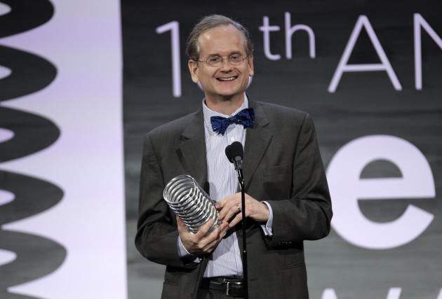 Legal professor Lawrence Lessig appears onstage at the 2014 Webby Awards on Monday, May 19, 2014, in New York. (Photo by Andy Kropa/Invision/AP)
