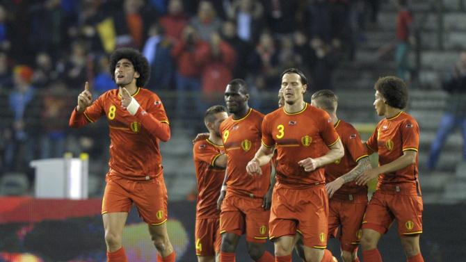 Belgium's Fellaini celebrates after scoring a goal against Ivory Coast during their international friendly soccer match at King Baudouin Stadium in Brussels