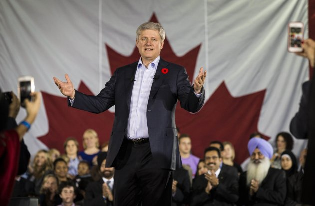 Prime Minister Stephen Harper speaks in Vaughan, Ont. on Oct. 30, 2014. (Reuters)