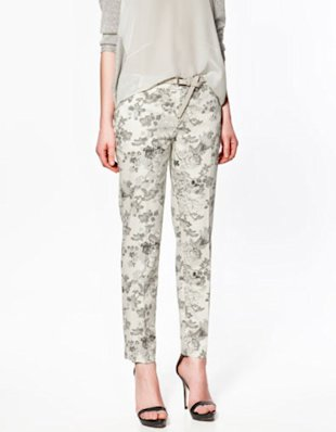 Beige Flower Print Trousers
