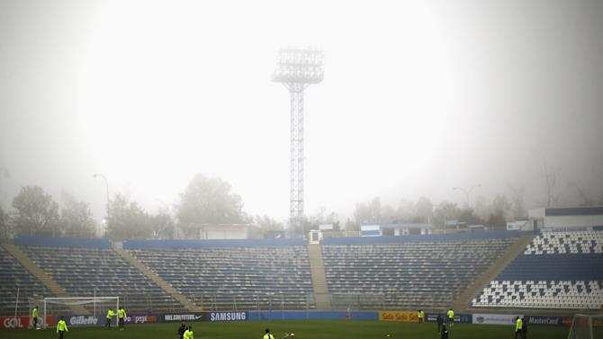 Brazil's soccer team members attend a team training session at San Carlos de Apoquindo Stadium in Santiago