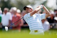 Spain's Sergio Garcia during the third round of The Barclays on August 25. Garcia held his own at demanding Bethpage Black, firing a two-under 69 to seize sole possession of the lead after three rounds of The Barclays